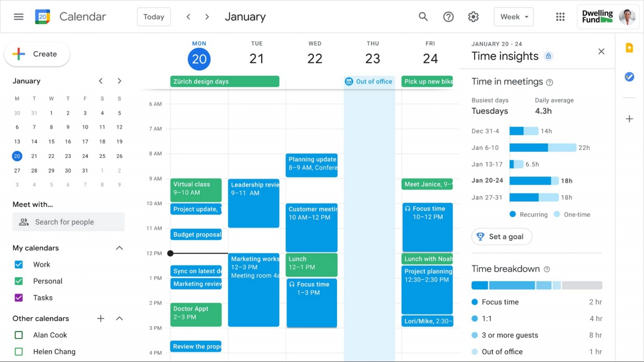 workspace calendar